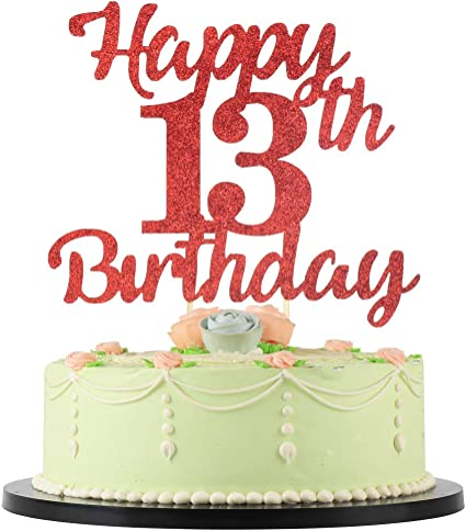 Astonishing Amazon Com Lveud 13Th Birthday Cake Topper For Happy Birthday Funny Birthday Cards Online Fluifree Goldxyz