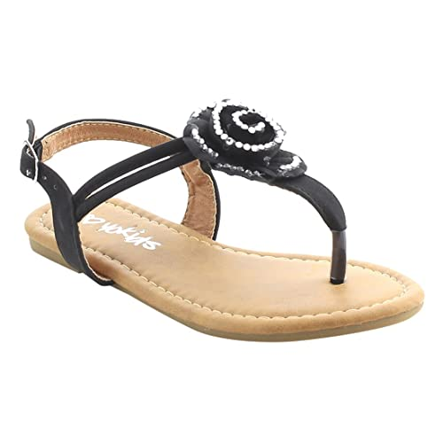 524250ce4f0e39 Yokids I AG18 Girl s Kid Flower T Strap Thong Beach Dress Flat Sandals