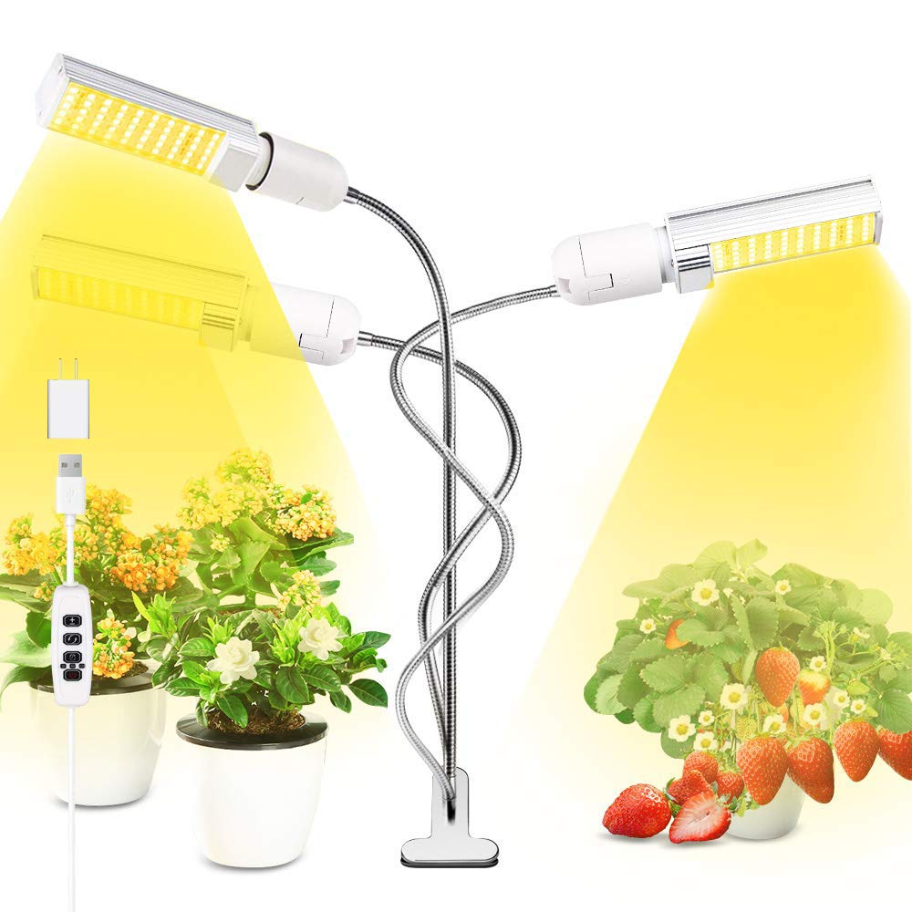 Grow Light for Indoor Plants, 68W Sunlike Full Spectrum LED Plant Grow Lamp, 10 Dimmable Levels Plant Lights with Timer 3 Head, 4 Switch, Replaceable Bulbs Professional for Seedling Growing Blooming