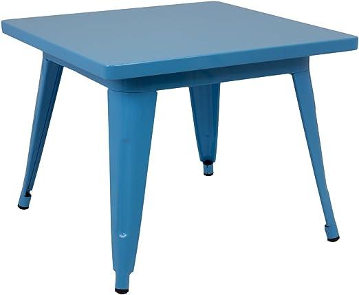 Vaukura Mesa Infantil Tolix - Mesa Metálica - Mesa Niños (Azul ...