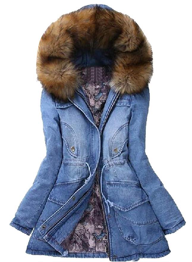 e3cbeb668c7 Amazon.com  Fensajomon Womens Faux Fur Collar Cotton Lined Winter Warm Thicken  Denim Denim Jacket Overcoat  Clothing