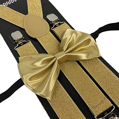 4everstore Unisex's Bow Tie & Suspender Sets (Champagne - Small Gold Bow