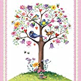 Paperproducts Design 1251549 Beverage/Cocktail Love Tree with Birds 1331529 Paper Napkins (20 Pack), Multicolor
