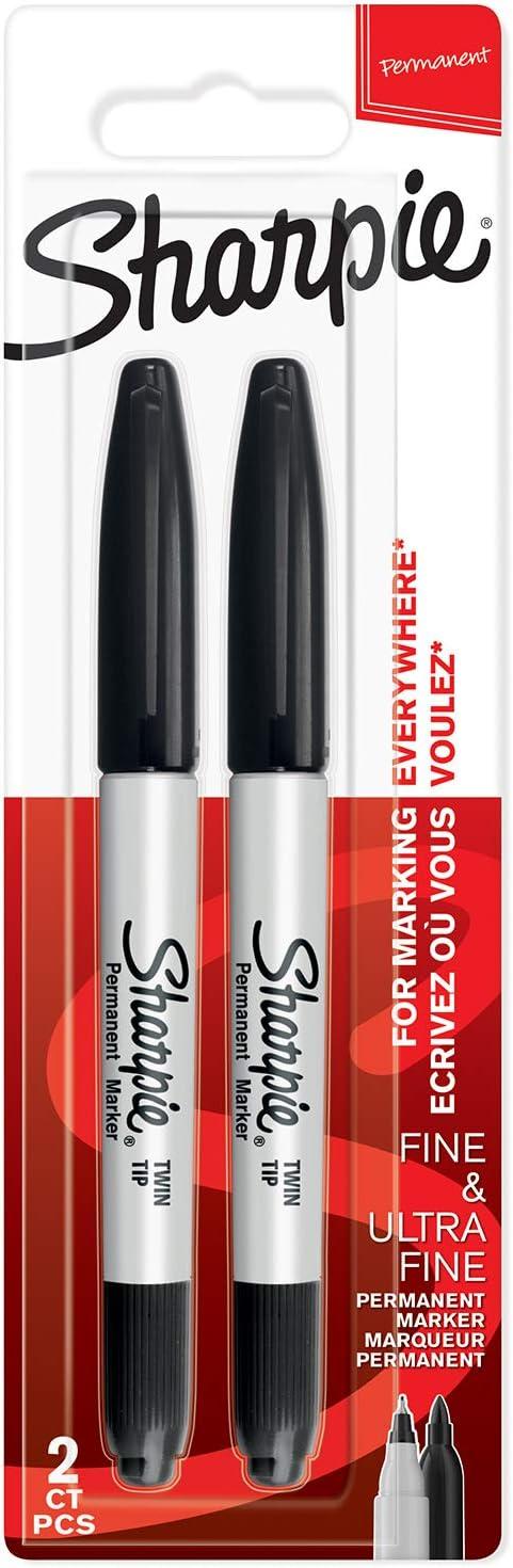 Sharpie rotuladores permanentes de doble punta, puntas fina y ultrafina, negro, paquete de 2