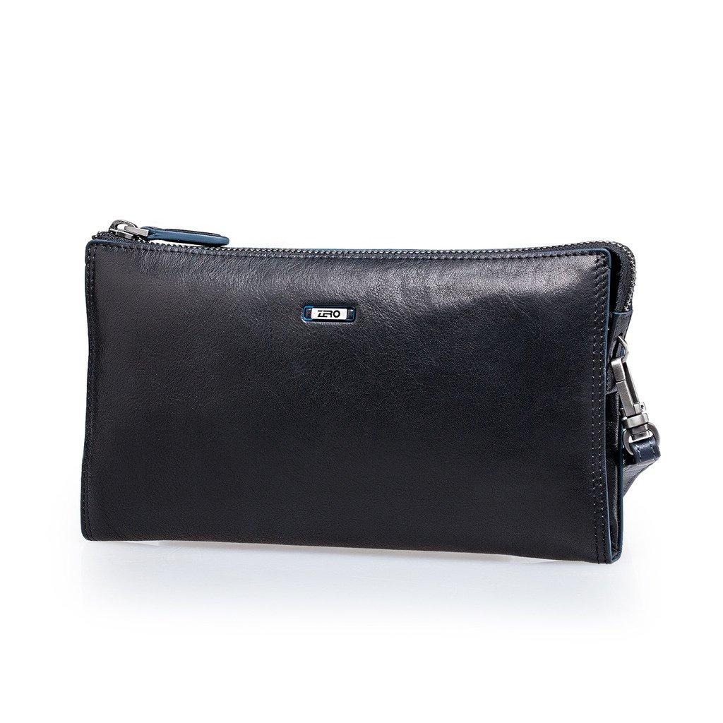 ZRO Men's Large Capacity Long Wallet Wrist Clutch Business Handbags BLACK