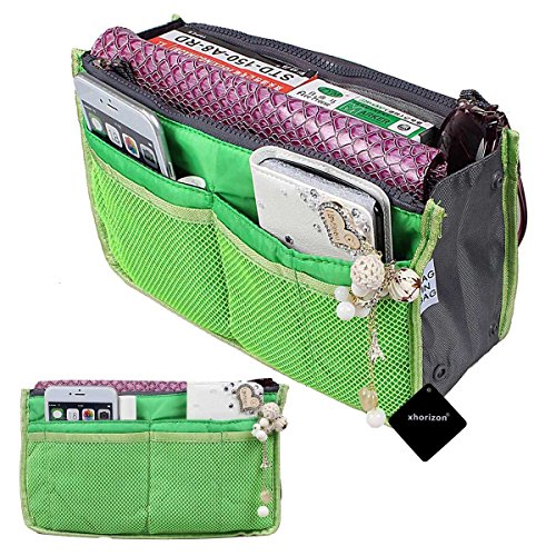 Including Stuff Sack - Travel Insert Handbag, xhorizon(TM)XH8 Organizer Compartment Bag Large Purse Tidy & Neat 13 Pockets Travel Perfector Insert Handbag Pouch - Green