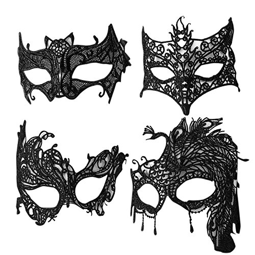 Most Popular Halloween Costumes Google (4 Pack Women Lace Masks,Yigou Halloween Costume Sexy Lace for Masquerade Party)