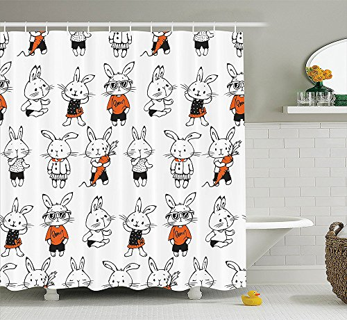 [Funny Decor Collection Cute Retro Bunny Rabbits with Costumes Jack Hare Funky Bunnies Carrot Sketch Style Print Polyester Fabric Bathroom Shower Curtain Orange] (Jack In The Box Costume Head For Sale)