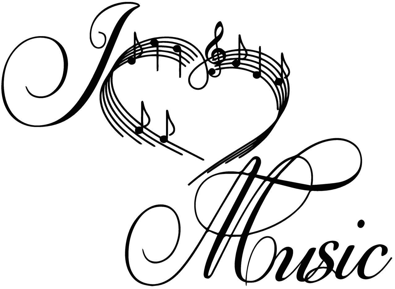 Sticker World 4 U W062 I Love Music Heart Notes Symbols Floral Wall