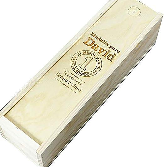 Compra Regalo Personalizado para Padres: Caja de Madera Personalizada para Vino (Caja Mejor Padre del Mundo) en Amazon.es