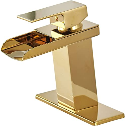 BWE Gold Waterfall Bathroom Sink Faucet Single Handle One Hole Deck Mount Lavatory,Gold Finish