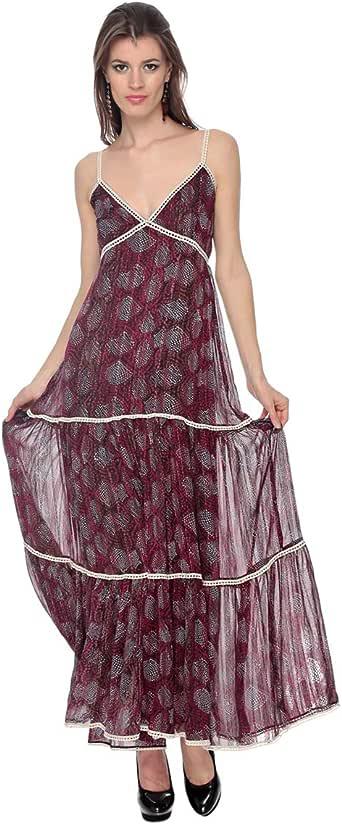 Cocum Unice Printed Maxi Dress For Women - 12 Uk, Maroon