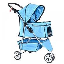 Best Pet Pet Stroller Cat Dog Cage 3 Wheels Stroller Travel Folding Carrier
