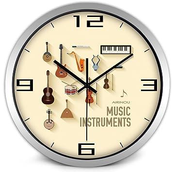 Amazoncom Airinou Musician Theme Wall Clock Metal Glass Face Music