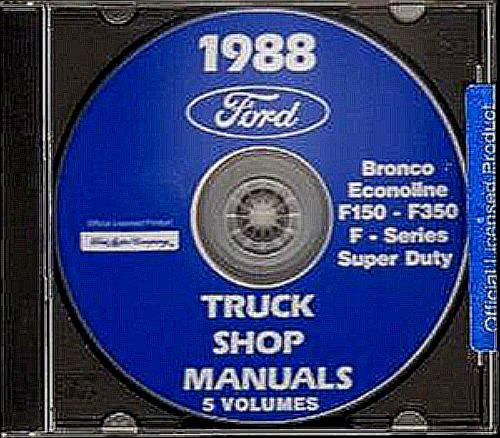 A MUST FOR OWNERS, MECHANICS & RESTORERS - THE 1988 FORD PICKUP TRUCK REPAIR SHOP MANUAL CD F-Series, Super Duty, F-150, F-250, F-350, Bronco. ()
