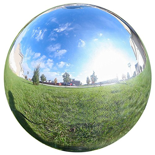 Lily's Home Glass Gazing Mirror Ball, Colorful and Shiny Addition to Any Garden or Home, Ideal As a Housewarming Gift, Sparkling Silver (10 Inches Diameter) by Lilyshome