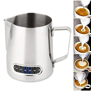 Comficent Jarra de Leche de Acero Inoxidable, Jarra con Espuma de Leche Tamaño Máquina de café Espresso, Fácil de Limpiar,Pluma de café para Arte Latte ...