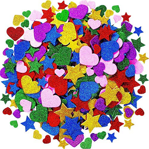Tatuo Foam Glitter Stickers Foam Hearts Star Shapes Stickers Colorful Self Adhesive Foam Stickers for Mother's Day Cards, Kid's Arts Craft Supplies (600 Pieces)]()
