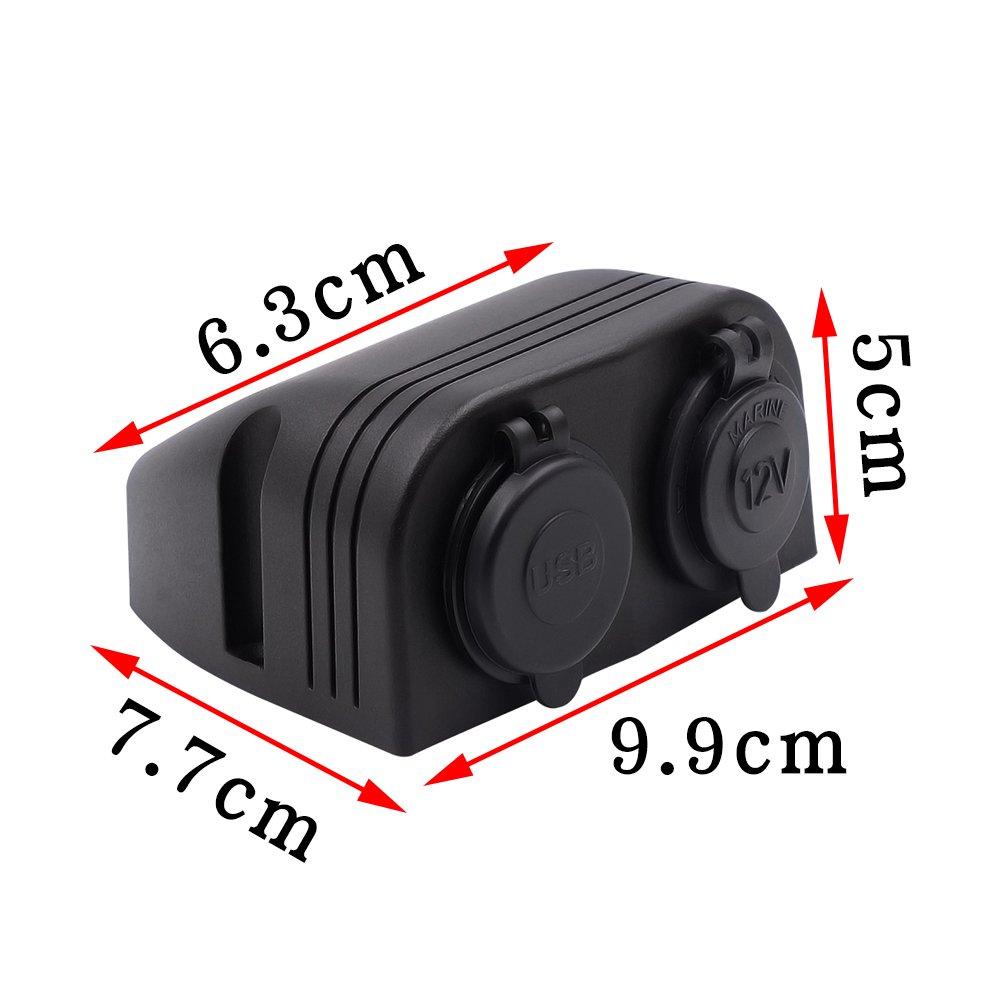 Auto Moto double 4.2/A chargeur USB Prise allume-cigare 12/V//24/V deux trou Tente type de panneau pour bateau marin ATV RV