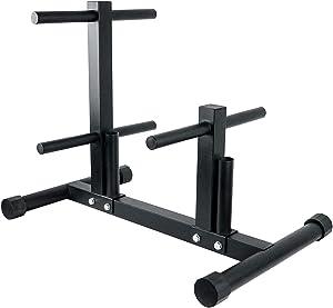 Luwint Plate Tree, 1 inWeightPlate Storage Rack with 2 Standard Bar Holders for Home Gym