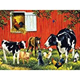 Bits and Pieces - 500 Piece Jigsaw Puzzle for Adults - Old MacDonald's Farm - 500 pc Cows on the Farm Jigsaw by Artist Linda Picken