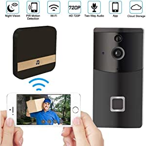 WiFi Video Doorbell Camera, Smart Doorbell Security Camera with Cloud Storage, Chime and 4 Rechargeable Batteries, Real-Time Video and Two-Way Talk, Night Vision, PIR Motion Detection