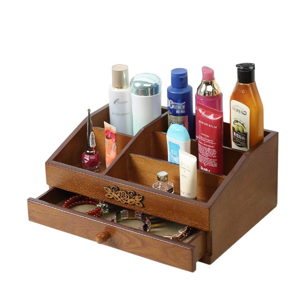 収納ボックス、純木大デスクトップ収納ボックス化粧品ケースオフィス収納寝室ドレッシングルーム棚 (サイズ さいず : Double makeup box) B07MXJGHYV  Double makeup box