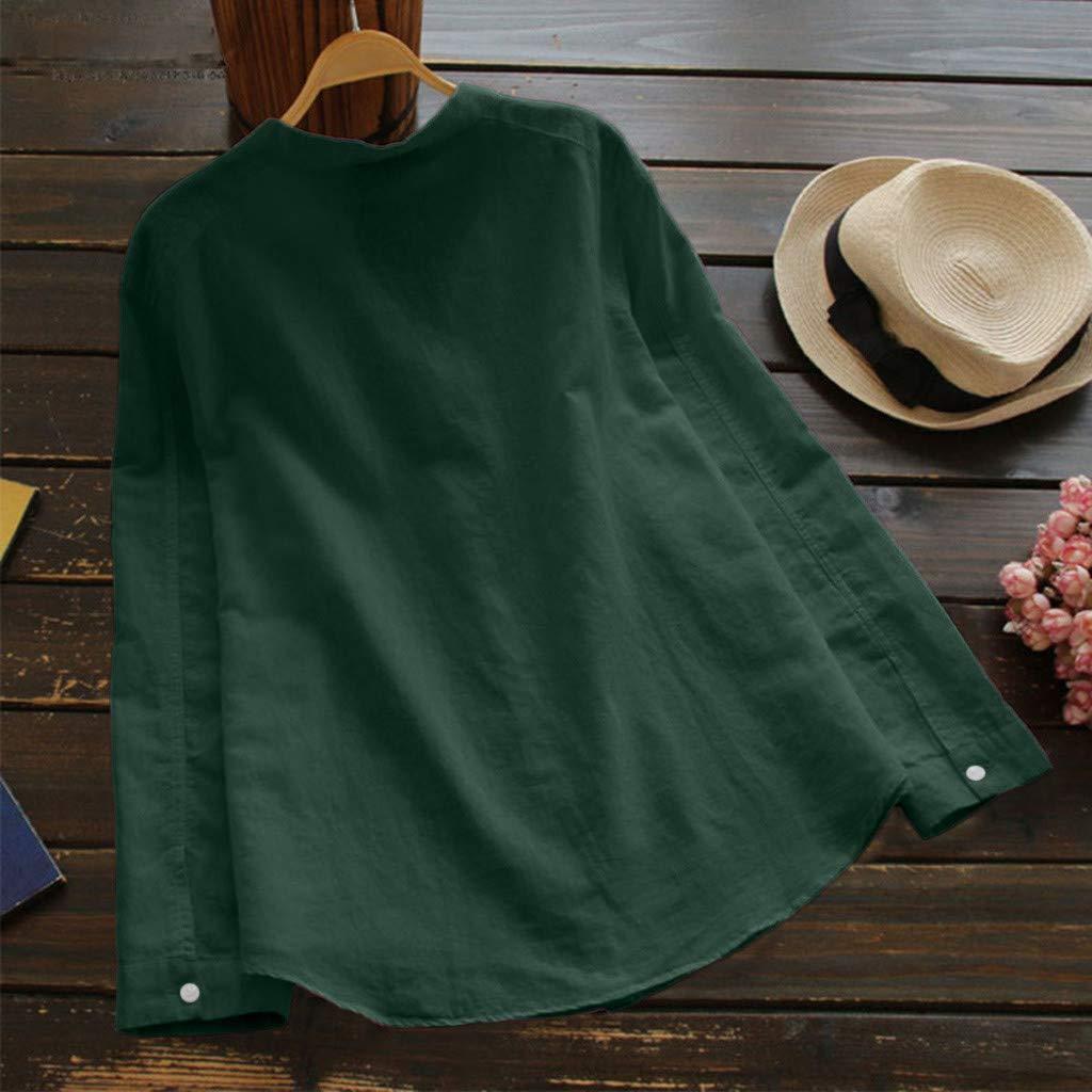 Berimaterry Damen Bluse Langarmshirt Leinen Hemd Tunika Oberteile V-Ausschnitt Button Down Freizeit Tops Langarm Knopf T-Shirt Long Sleeve