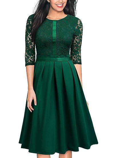 99426cfd931561 Miusol Damen Elegant Partykleider Hochzeit Abendkleid Vintag 3/4 Arm mit  Spitzen Knielang Dunkelgrün Gr