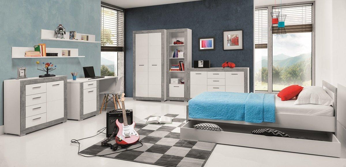 Jugendzimmer Kinderzimmer 4TEEN Set B weiß & grau 7-tlg. Komplett Schrank Standregal Kommode Schreibtisch Bett 200x90 NEU