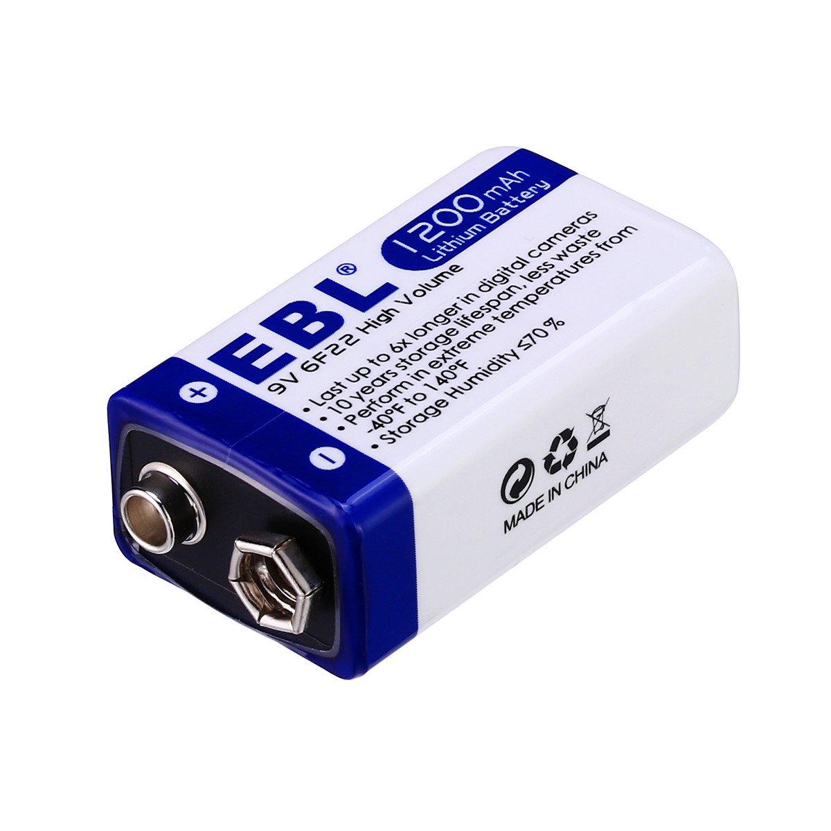 EBL 9V Block 1200mAh Lithium Batterie 6xLonglife 2 Stück