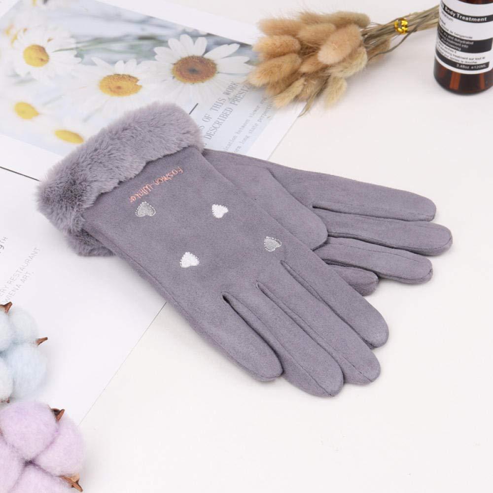 SJBST Damenhandschuhe Outdoor Sport Handschuhe Damen Herbst und Winter Touchscreen Plus samtwarme Wildleder s/ü/ße Studentenhandschuhe verdickt kalt