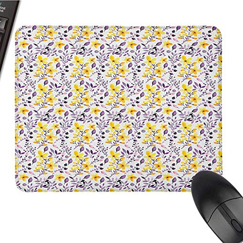 (Cute Mouse pad Flower,Pattern with Flowers and Leaves Seedling Foliage Spring Rural Artsy Print, Yellow Purple White Nonslip Rubber Base 15.7 x23.6 INCH)