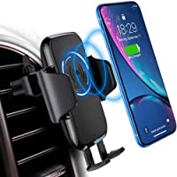 DesertWest Qi Wireless Charger Car Phone Holder 10W Charger Car Phone Holder for Samsung Galaxy S9/S8/S8 Plus/S7 Edge, Standard Charge for iPhone X/8/8 Plus and Other Qi-Enabled Device
