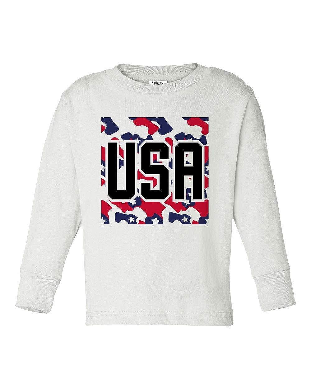 Societee Red White /& Blue Camouflage USA Girls Boys Toddler Long Sleeve T-Shirt