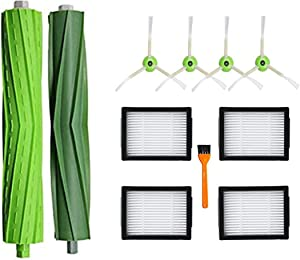 DLD Replacement Accessory Kit for iRobot Roomba i7 i7+/i7 Plus E5 E6 Vacuum Cleaner.Replacement Parts Set (2 Set of Multi-Surface Rubber Brushes,4 Side Brushes,4 Filters,1 Tools)