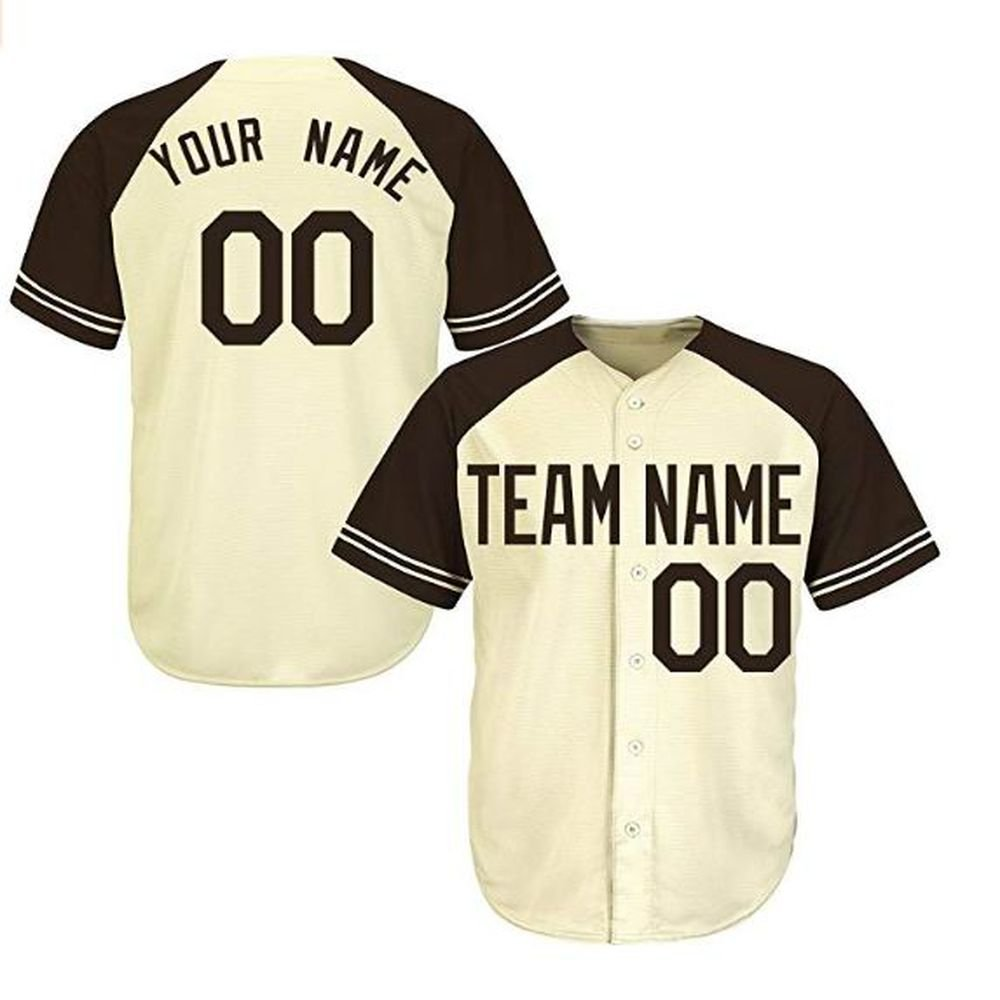 Custom Mens Cream Mixed Full Button Baseball Jersey Nama Sewn With Your Numbers And Name Clothing