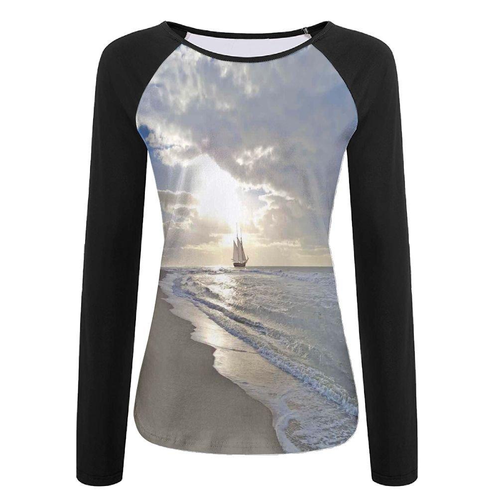 Weiding Sailing Ship Close To Sandy Beach In Moody Sunset Paradise Tropical Theme Women's Stretchy Long Sleeve Raglan Tshirt M
