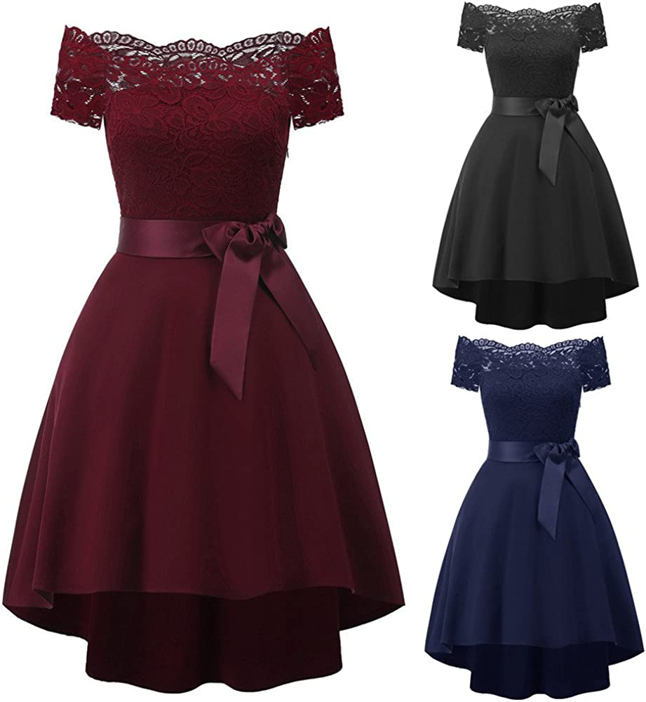 Yuwegr Damen Kleider Vintage Cocktail Party Abend Princess Kleid Frauen Lace Bow A-line Schulterfrei Swing Dress
