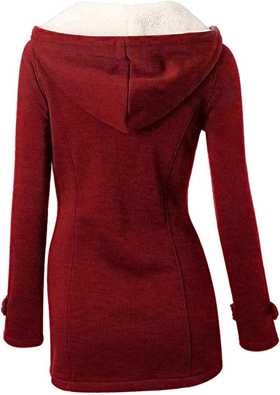 YIPIN Cappotto Invernale Donna Lungo Elegante Giacca con Cappuccio Autunno Solido Bottone Classico Casual Pullover Hoodie Outwear