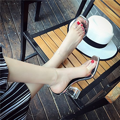 Des Fuites Talon Sandales Talon De SHOESHAOGE Cristal Summer Bouche Couleur Avec Poisson Haut Mot Un Grossier Transparent Talons Toe unie Chaussures wXwvPq6