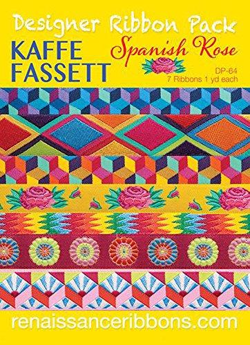Kaffe Fassett Spanish Rose Designer Ribbon Pack - 7 Ribbons, 1yd each
