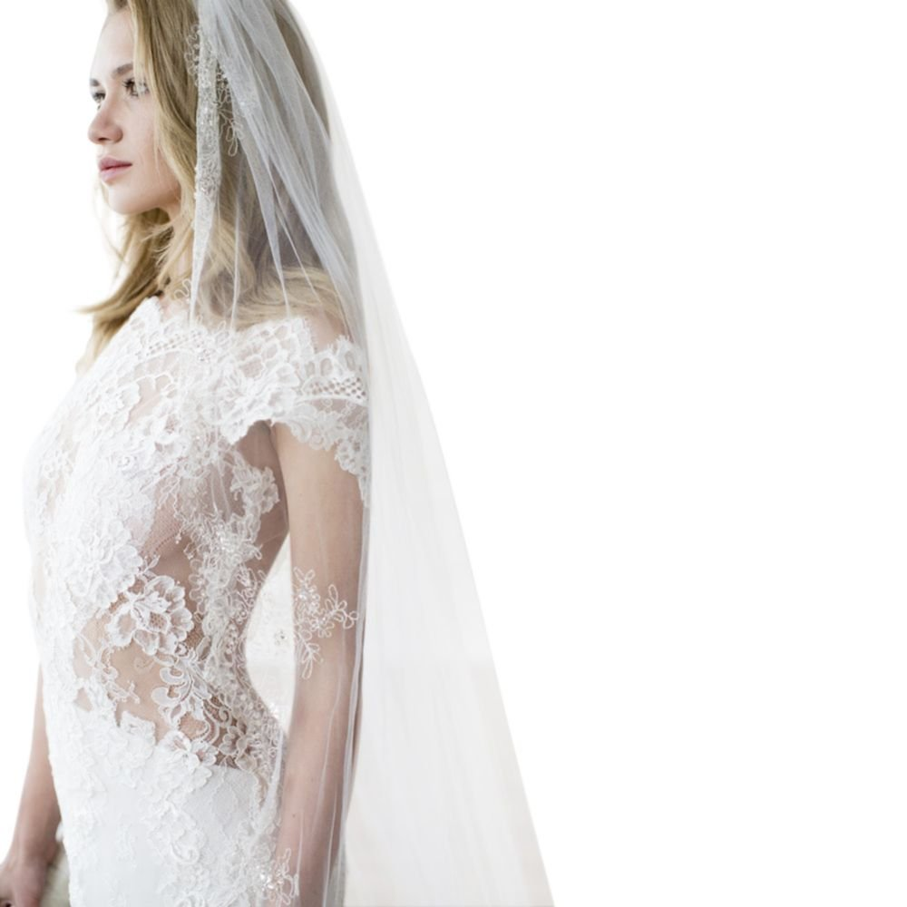 Metallic Embroidered Cathedral Veil with Crystals Style SCARLETT, Ivory by David's Bridal