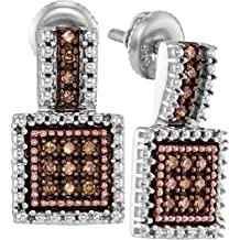 925 Sterling Silver Rose Gold-Plated Round Chocolate Brown Diamond Square Shaped Halo Prong Set Stud Earrings (1/5 cttw)