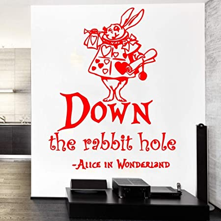 jiuyaomai Down The Rabbit Quotes Wall Sticker Saying Quotes Art ...