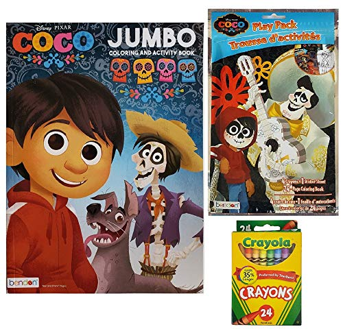 Disney Coco 3 Piece Activity Gift Set: Coloring Book, Play Pack with Mini Coloring Book and Stickers - and Pack of Crayola Crayons ()
