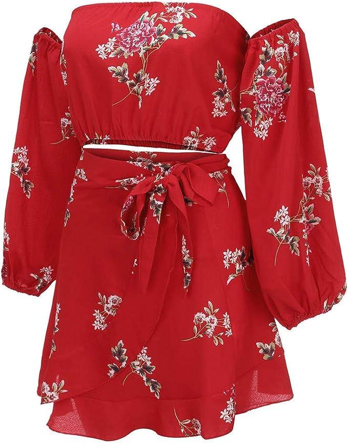 Hupoop - Conjunto de Blusa y Falda para Mujer, diseño Floral de ...