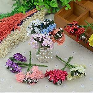 6Pcs/Lot Mini Cherry Plum Blossom Artificial Silk Baby Breath Flowers Bouquettable Arrangements Stamen Weddding Decorations 62
