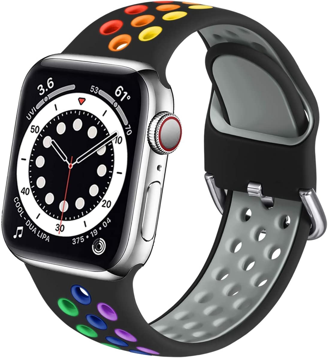 Muranne Compatible with Apple Watch Bands 44mm 42mm iWatch SE & Series 6 & Series 5 4 3 2 1 for Women Men, Black/Rainbow, M/L