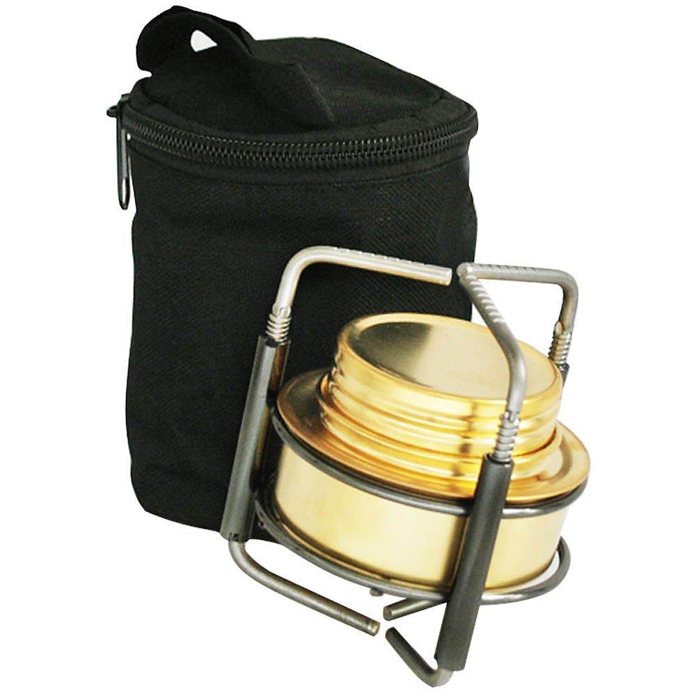 R Cuivre de Alliage Portable Mini ultra-leger Bruleur de l/¡/¯esprit Poele dalcool Rechaud de Camping plein air four avec Stand B9-1 Poele dalcoo SODIAL
